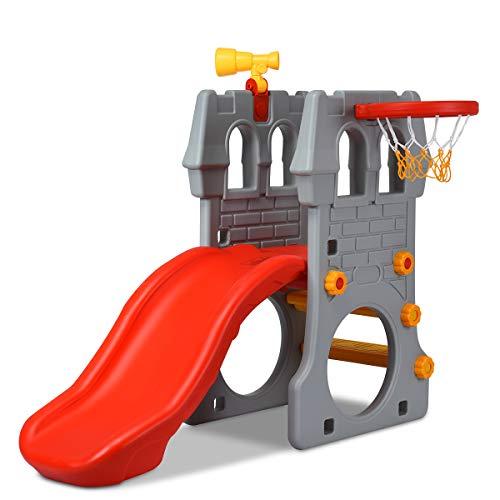 COSTWAY 4 in 1 Kinder Spielplatzgerät mit Teleskopspielzeug